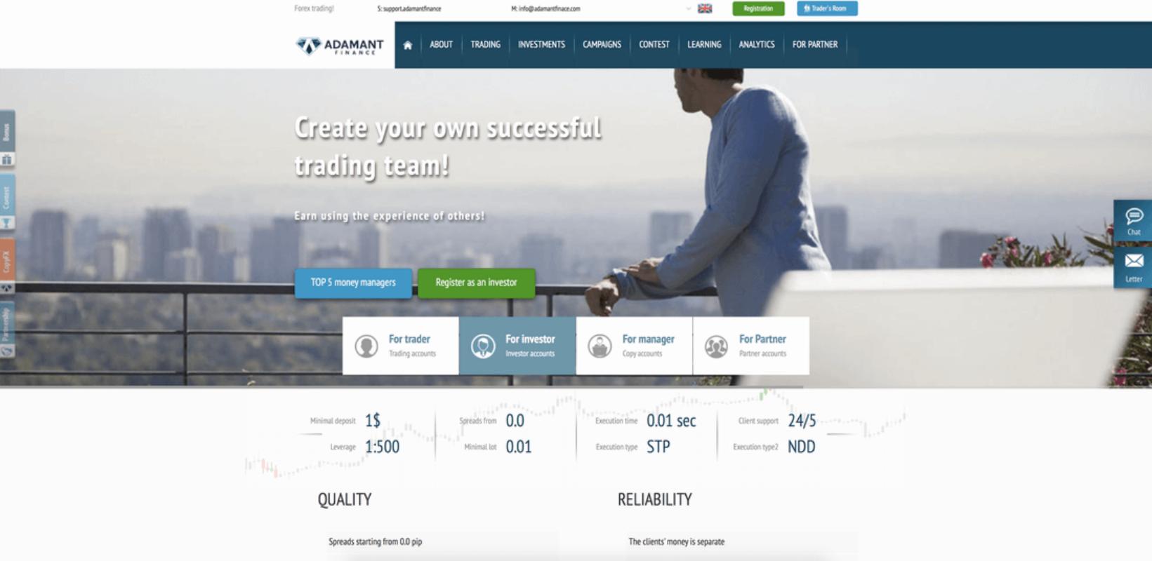 Adamant Finance broker: обзор